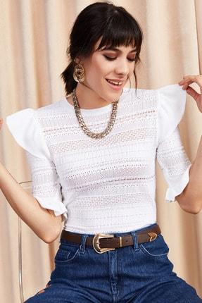 Olalook Kadın Beyaz Kolu Volanlı Ajurlu Yazlık Triko Bluz BLZ-19000881