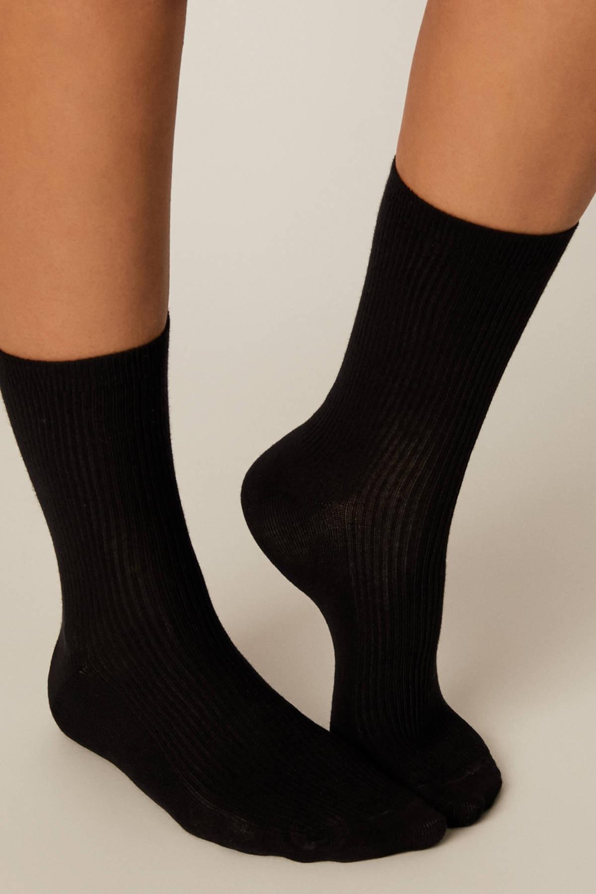 Oysho Kadın Siyah 1 Çift Basic Fitilli Çorap 1