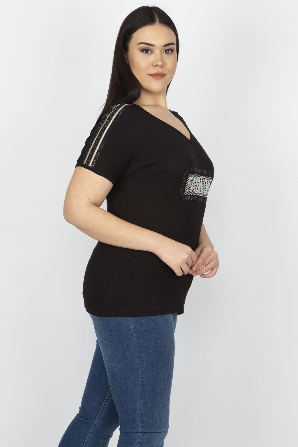 Şans Kadın Siyah Omuz Detaylı Viskon Bluz 65N15199 2