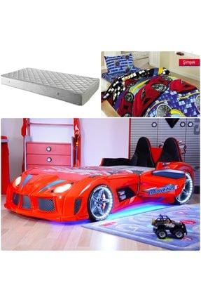 Setay Audi Arabalı Yatak Kapıları Açılan Koltuklu Kırmızı + Ortopedik Yatak + Nevresim