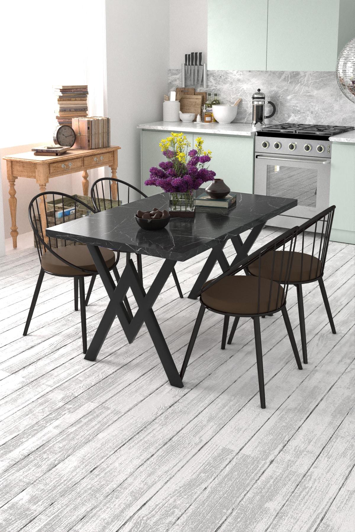 Evdemo Eylül 4 Kişilik Mutfak Masası Takımı Siyah Mermer Desen Kahverengi 1