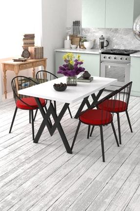 Evdemo 4 Kişilik Mutfak Masası Takımı Beyaz Kırmızı