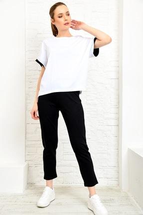 Trend Alaçatı Stili Kadın Siyah Kısa Kol Basıc İkili Takım ALC-X3858