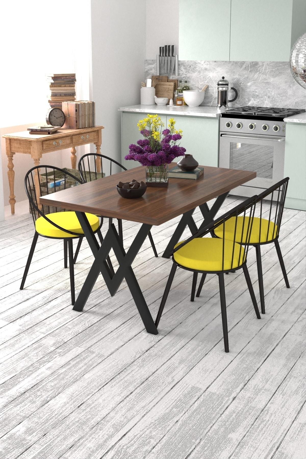 Evdemo Eylül 4 Kişilik Mutfak Masası Takımı Ceviz Sarı 1