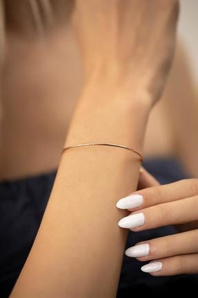 İzla Design Yılan Derisi Model Rose Kaplama Gümüş Italyan Bilezik