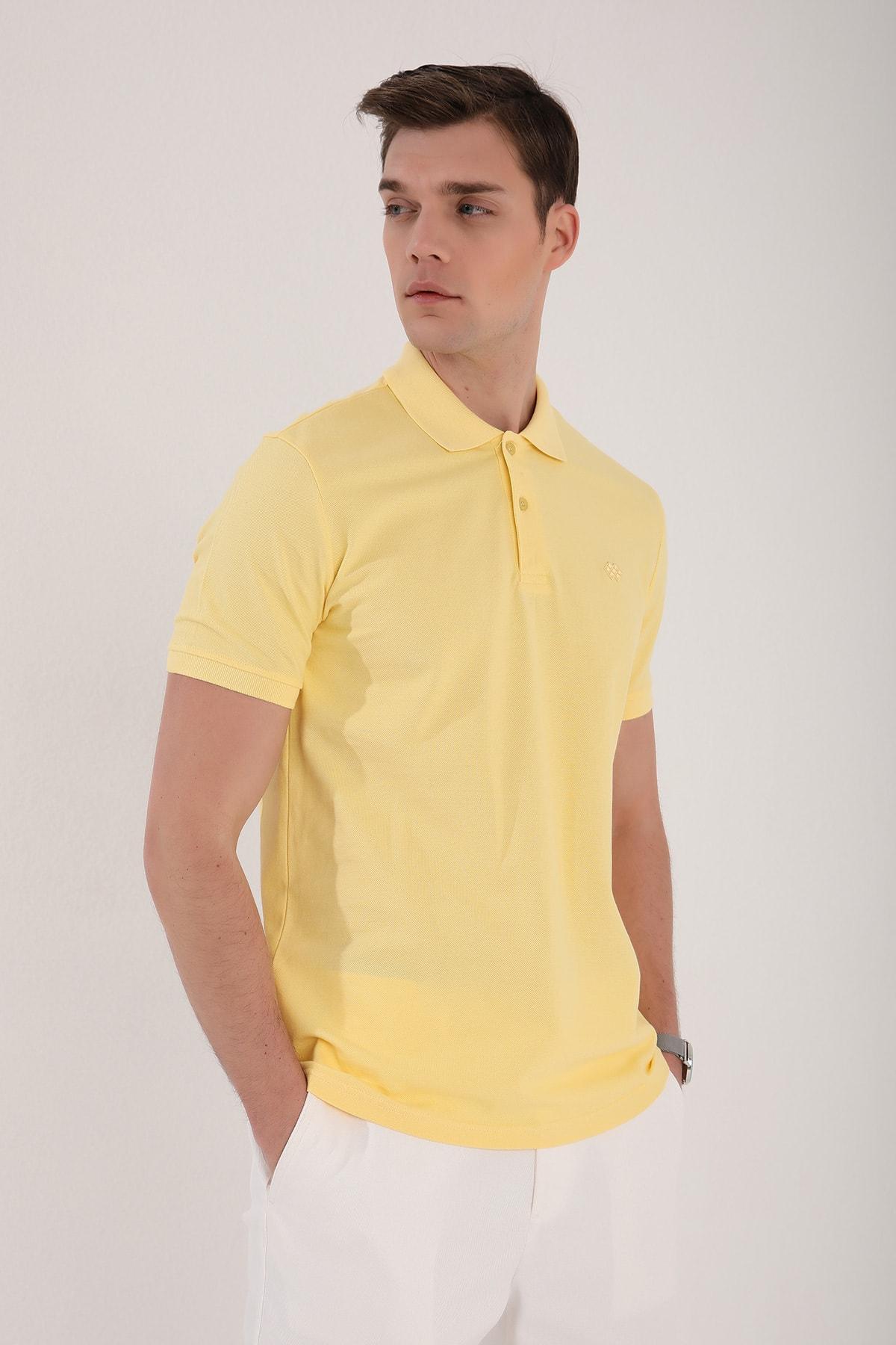 Tommy Life Polo Yaka Sarı Erkek Tshirt T08ER-87748 1