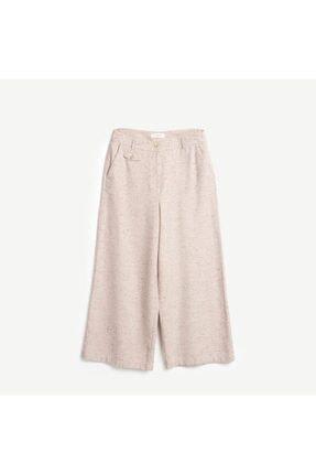 Yargıcı Kadın Bej Cropped Geniş Paça Pantolon