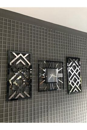 mukahome Aynalı Siyah Gümüş Duvar Saati Tablo Set 3'lü