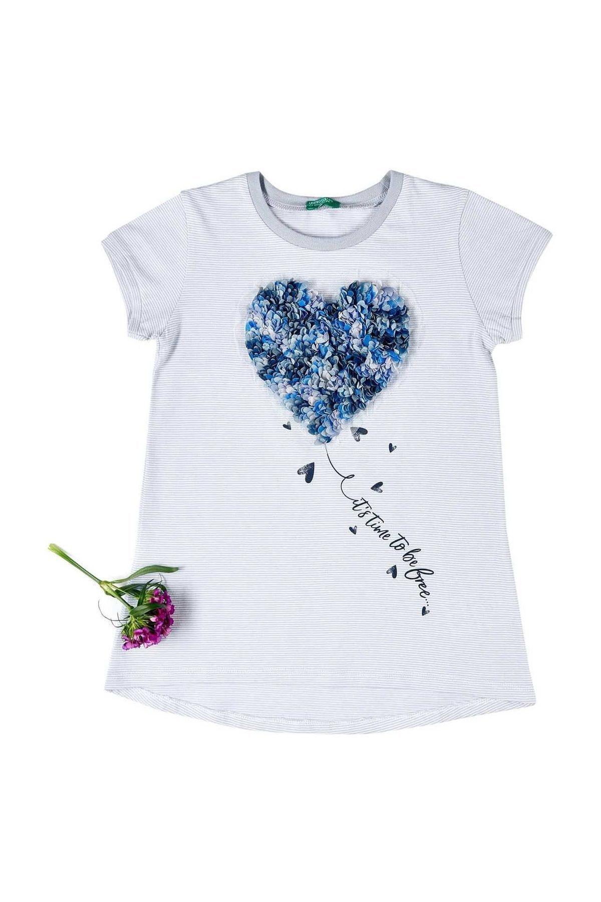 United Colors of Benetton Mavi Kız Çocuk 3 Boyutlu Kurdela İşlemeli Tshirt 1
