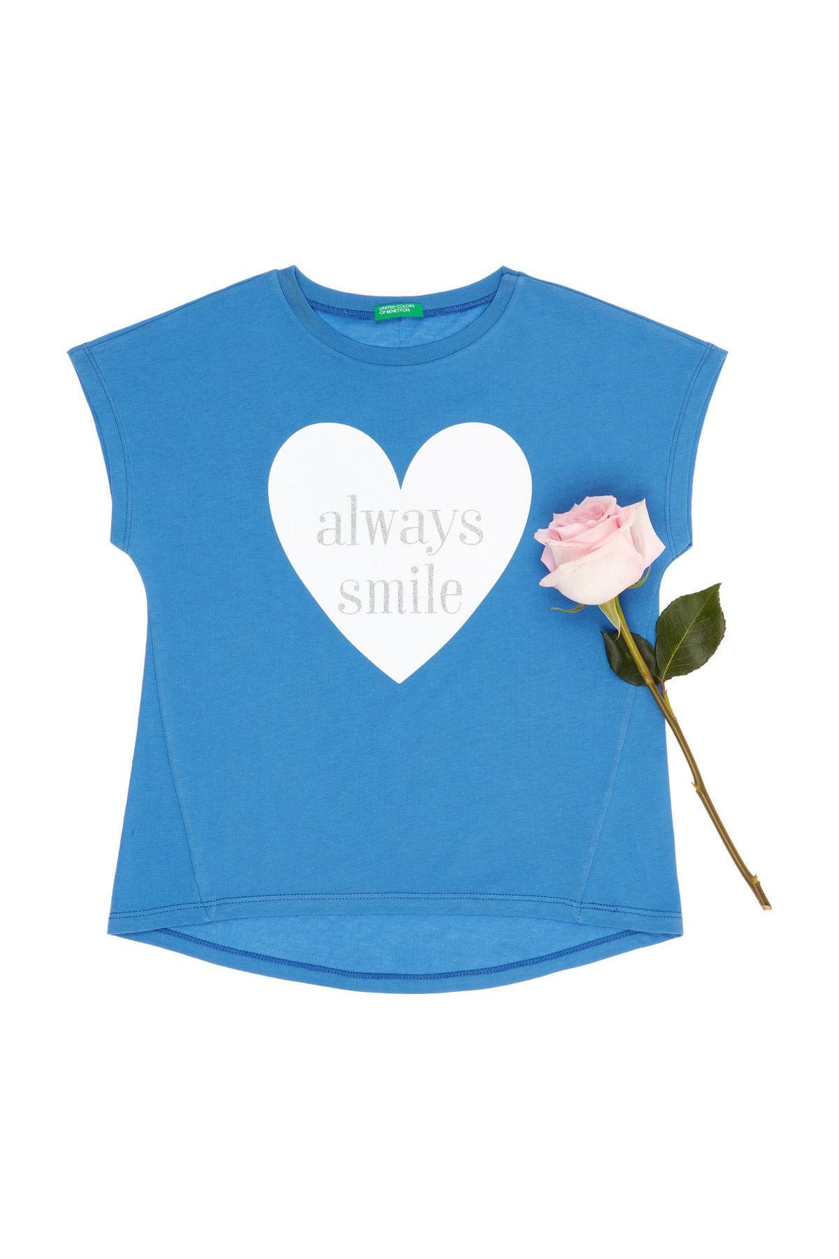 United Colors of Benetton Çivit Mavi Kız Çocuk Simli Slogan Yazı Baskılı Tshirt 1