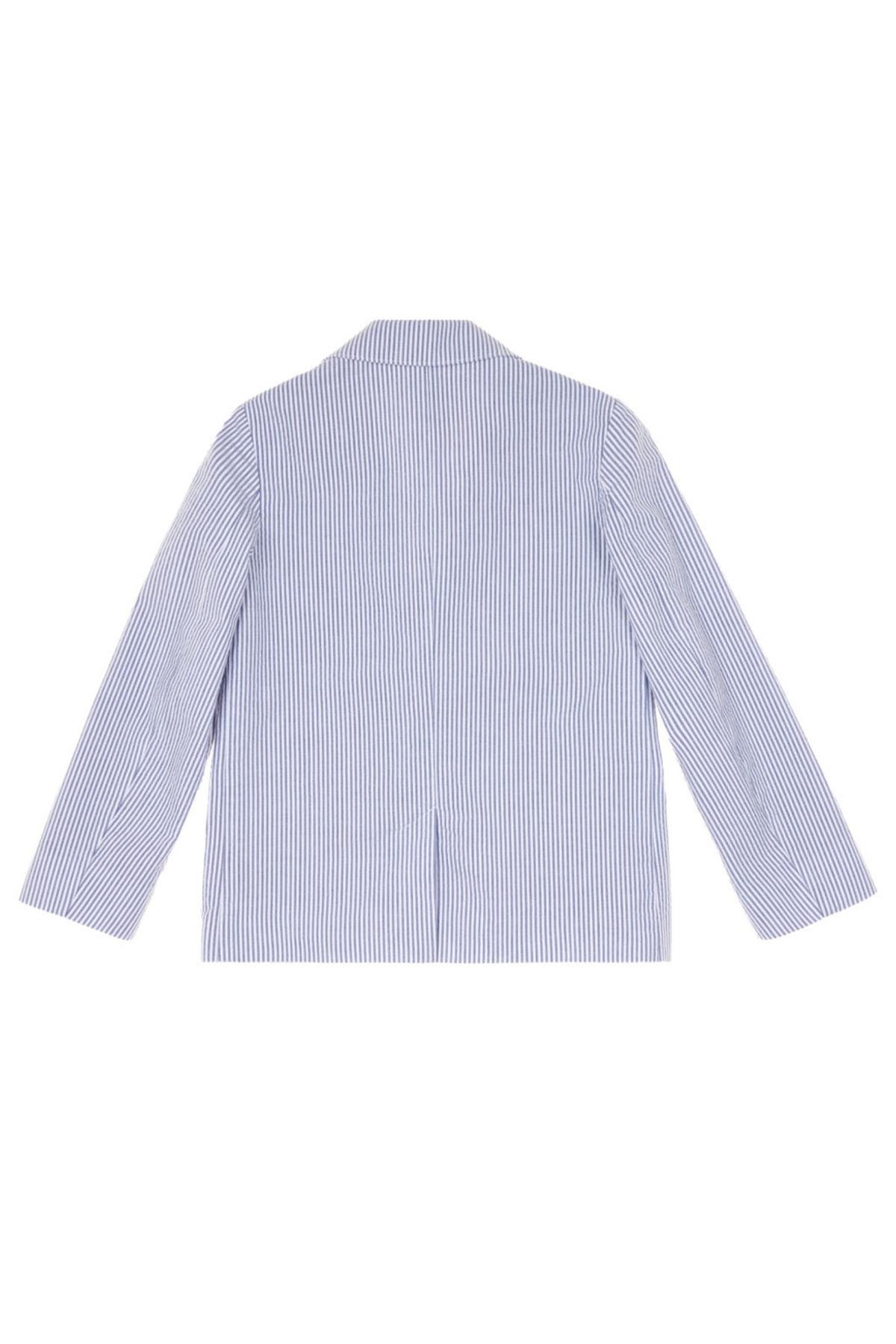United Colors of Benetton Mavi Erkek Çocuk Seersucker Klasik Ceket 2