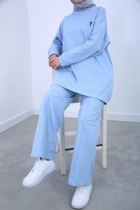 Ekrumoda Kadın Bebe Mavisi Nakışlı Bel Lastikli Takım