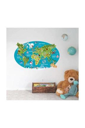 KT Decor Ingilizce Hayvanlı Dünya Haritası Kıtalar Ve Okyanuslar Eğitici Çocuk Odası Duvar Sticker