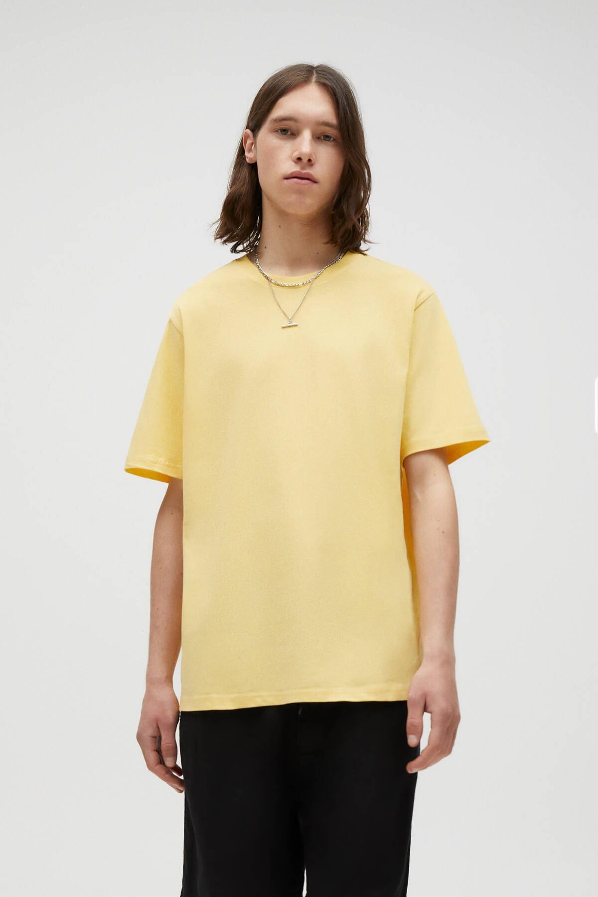 Pull & Bear Erkek Pastel Sarı Join Life Basic T-Shirt 09244500