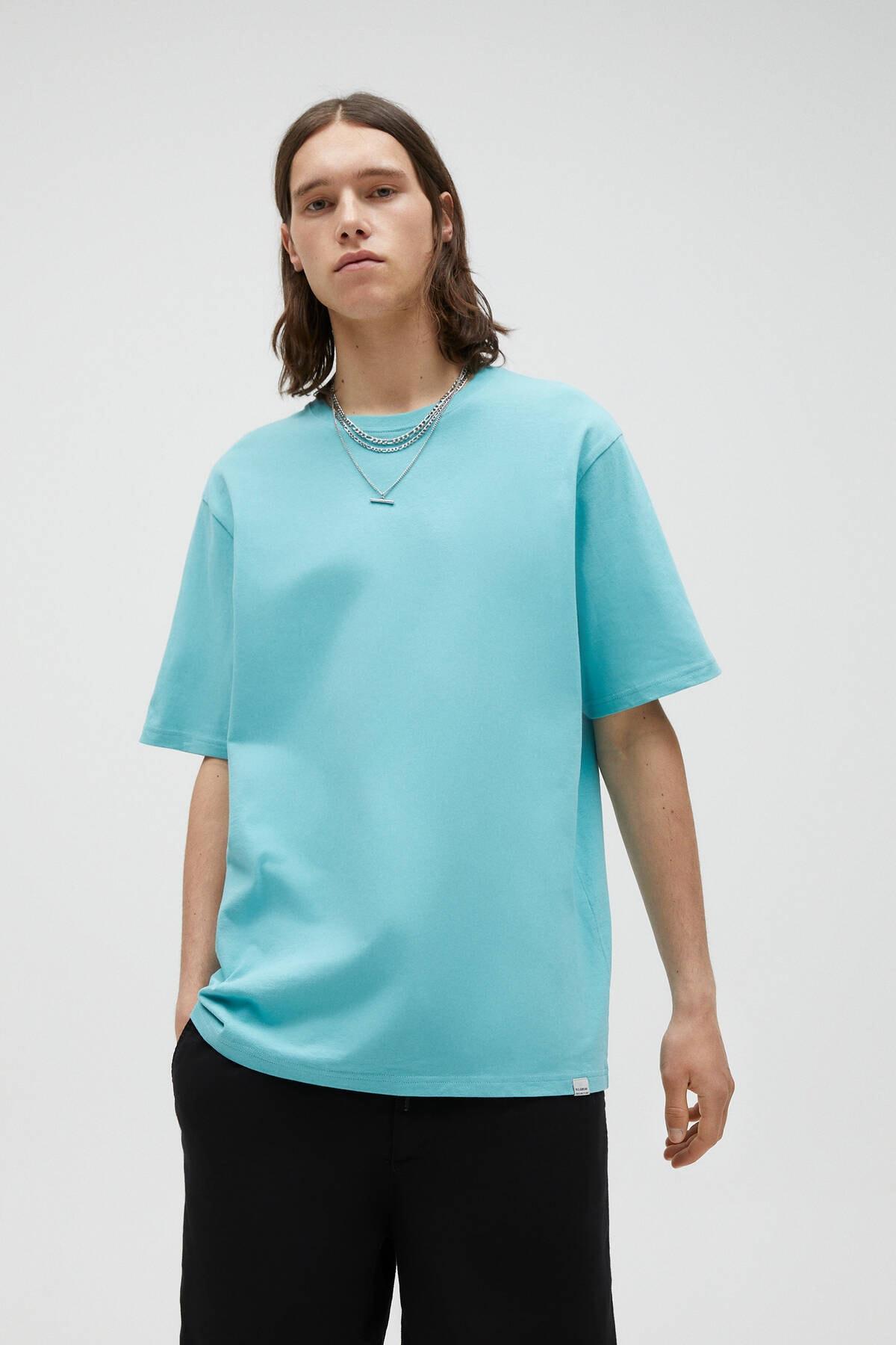 Pull & Bear Erkek Açık Yeşil Join Life Basic T-Shirt 09244500