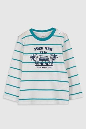 LC Waikiki Erkek Bebek Turkuaz Çizgili Ljq T-Shirt