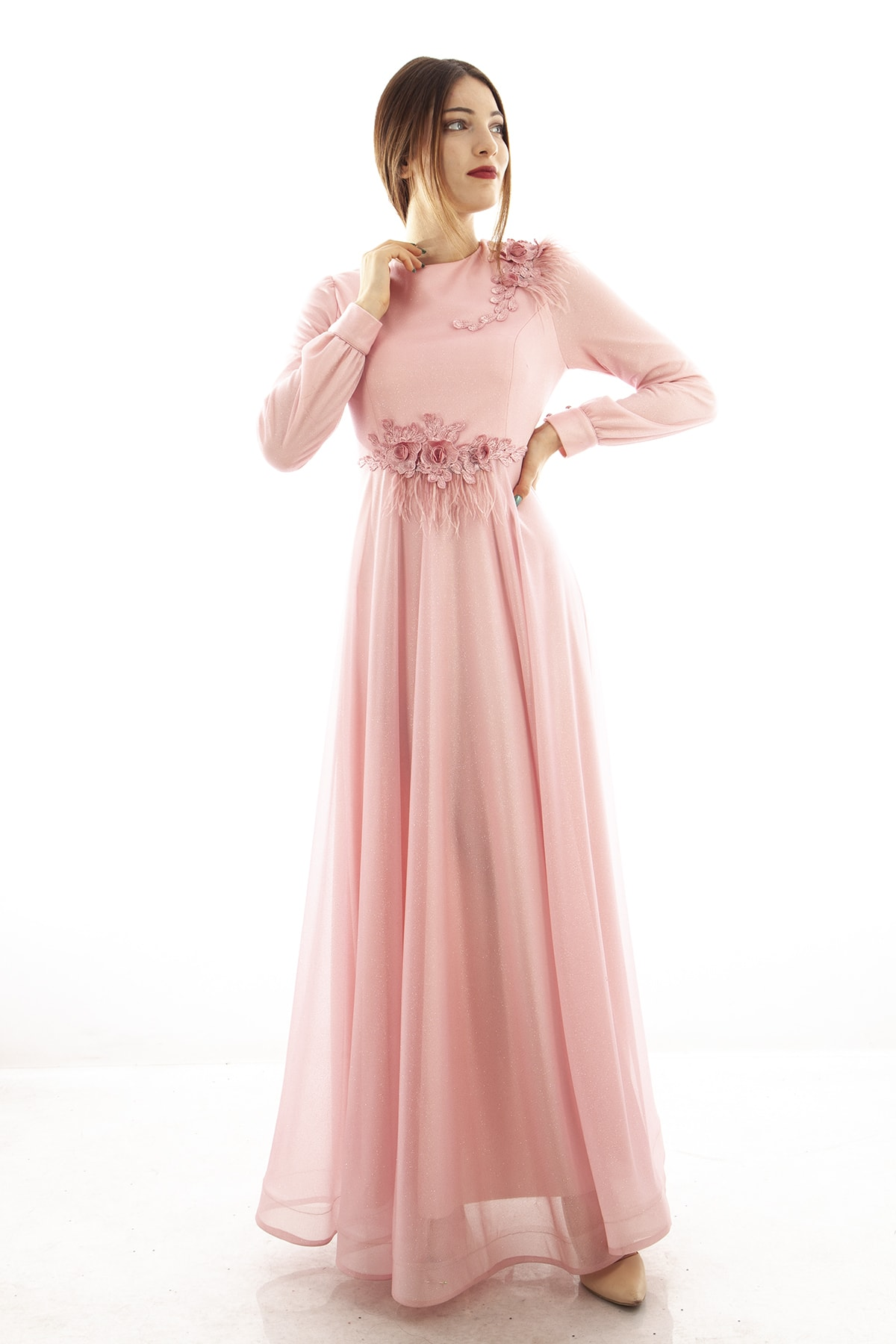 Ardanewline Kadın Pudra Abiye & Mezuniyet Elbisesi 1024190-10