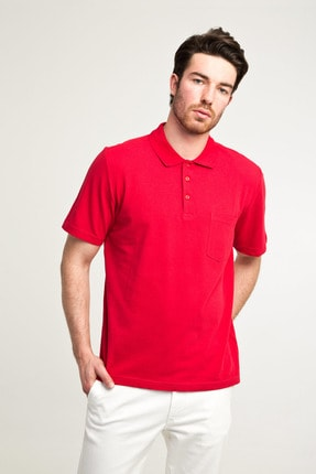 Kiğılı Erkek Kırmızı Düz Kesim Polo Yaka T-Shirt - Cdc01