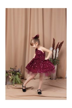 Buse&Eylül Bebe Fuşya Tek Kol Pullu Tokalı Elbise