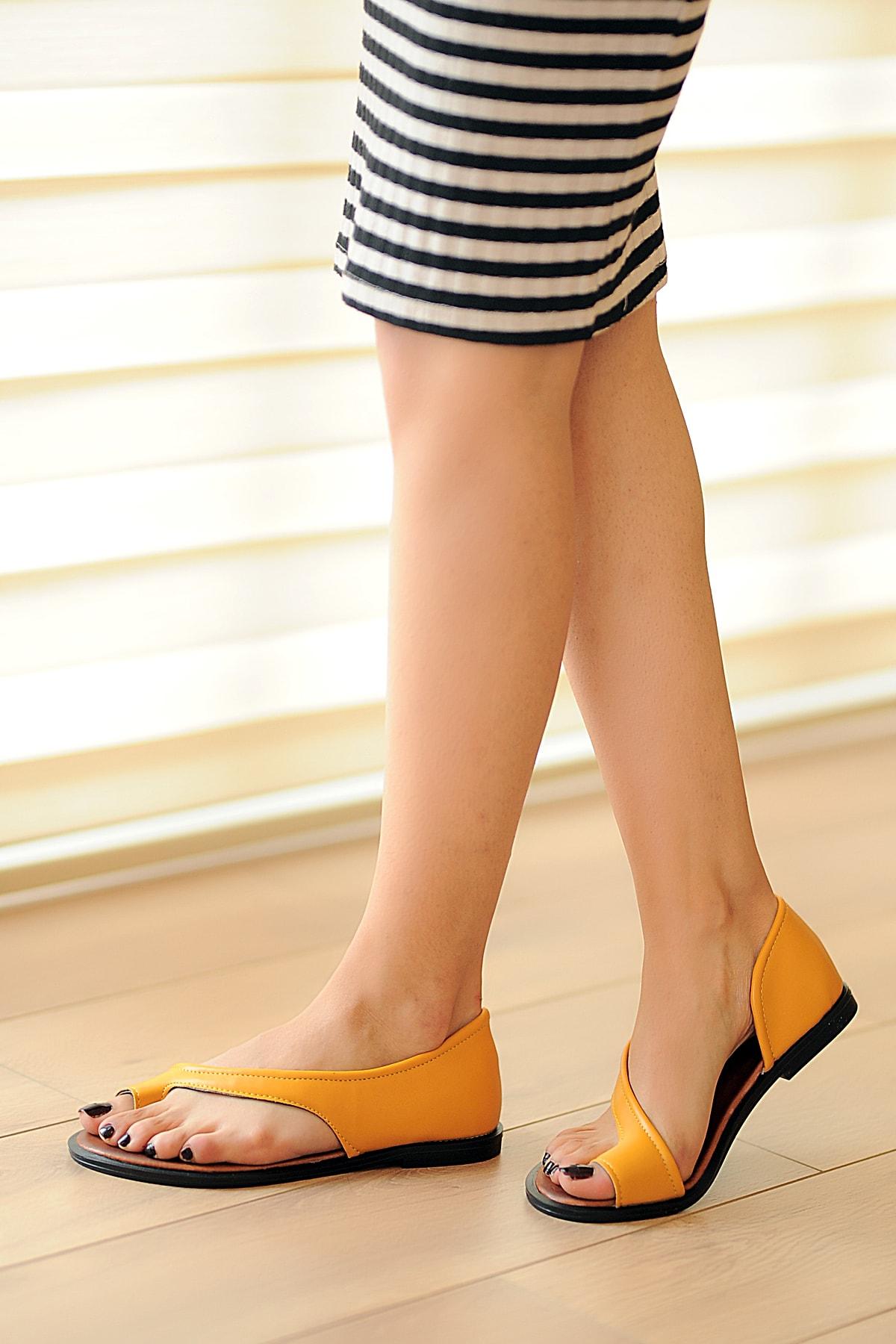 Pembe Potin Hardal Kadın Sandalet A975-19 1
