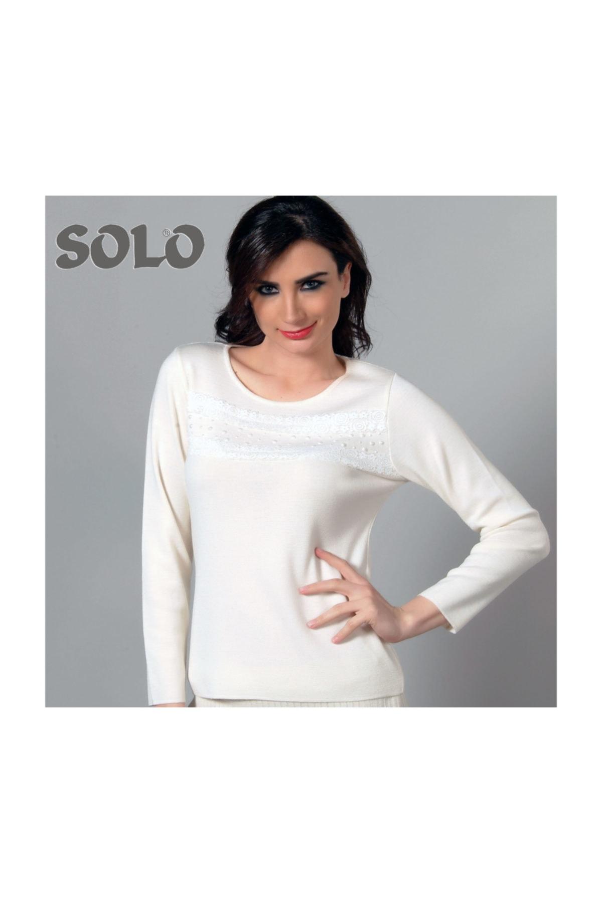 Solo Kadın Danteli Ve Taş Incili Triko Bluz 2