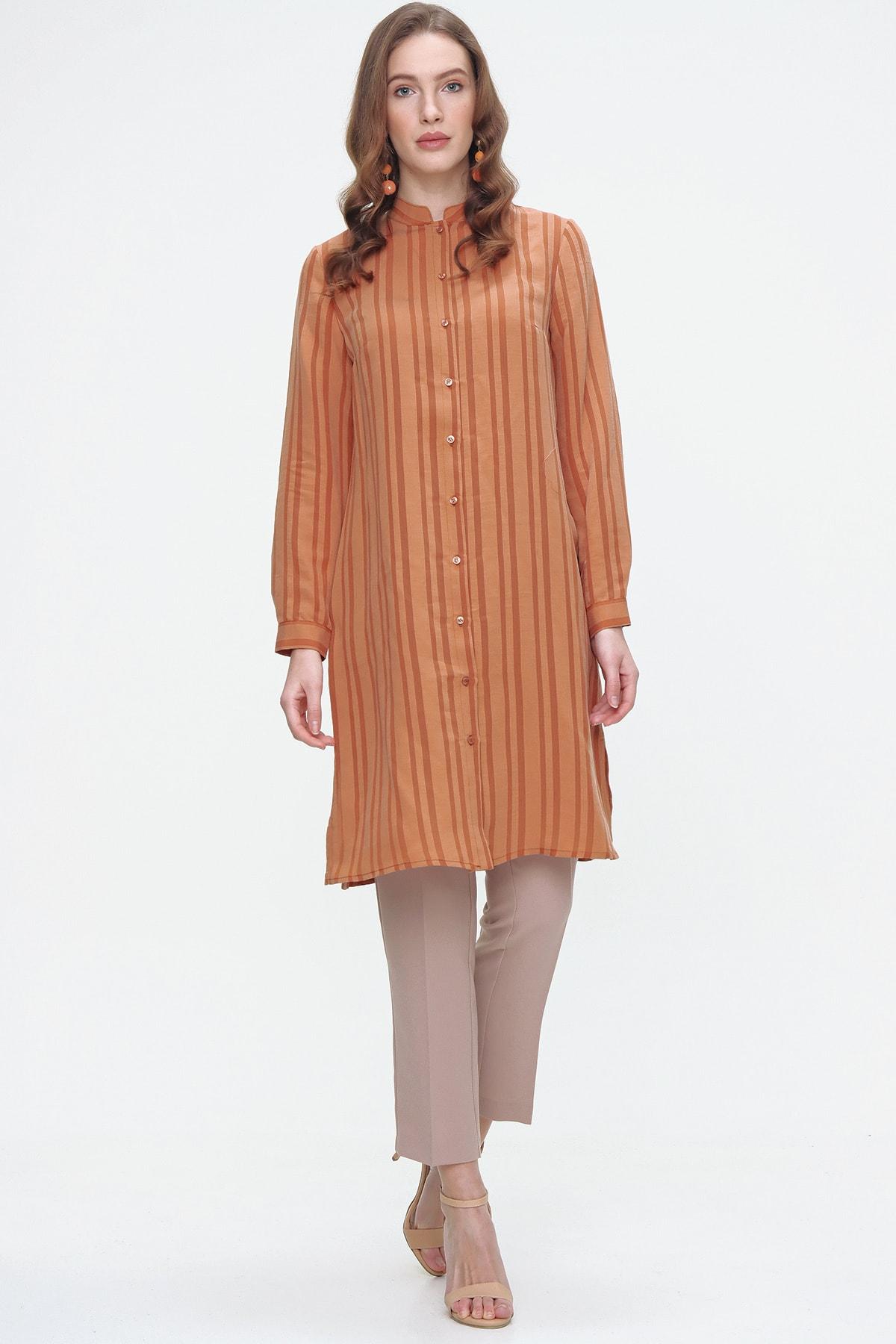 Aker Kadın Sarı Çizgili Uzun Tunik 1