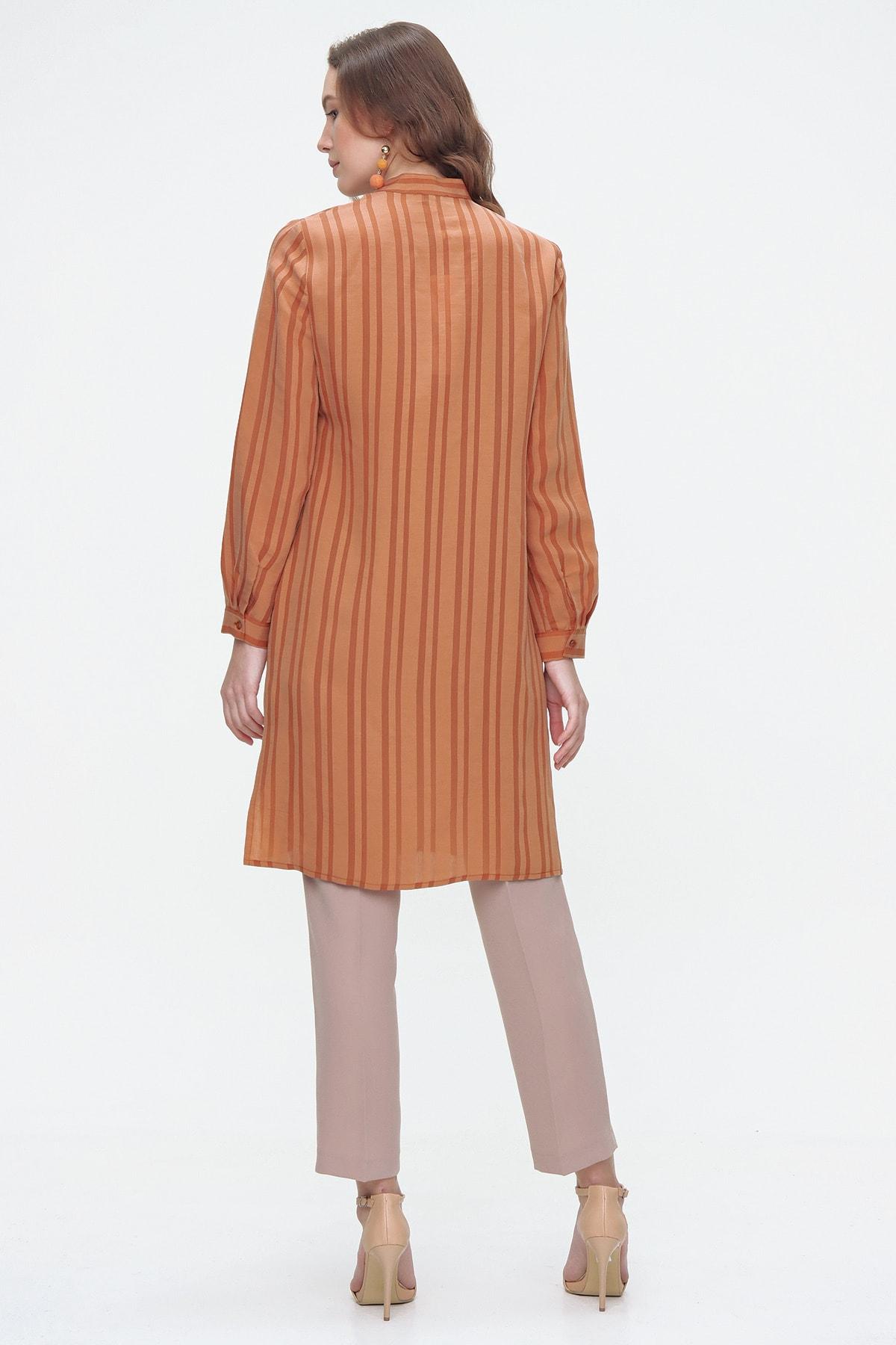 Aker Kadın Sarı Çizgili Uzun Tunik 2