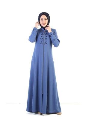 Tesettür Dünyası Nakış Işlemeli Tesettür Elbise Tsd7026 Mavi