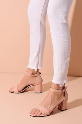Shoes Time Pudra Deri Kadın Topuklu Ayakkabı 20Y 215