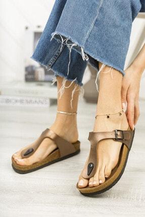meyra'nın ayakkabıları Kadın Bronz Klasik Parmak Arası Terlik