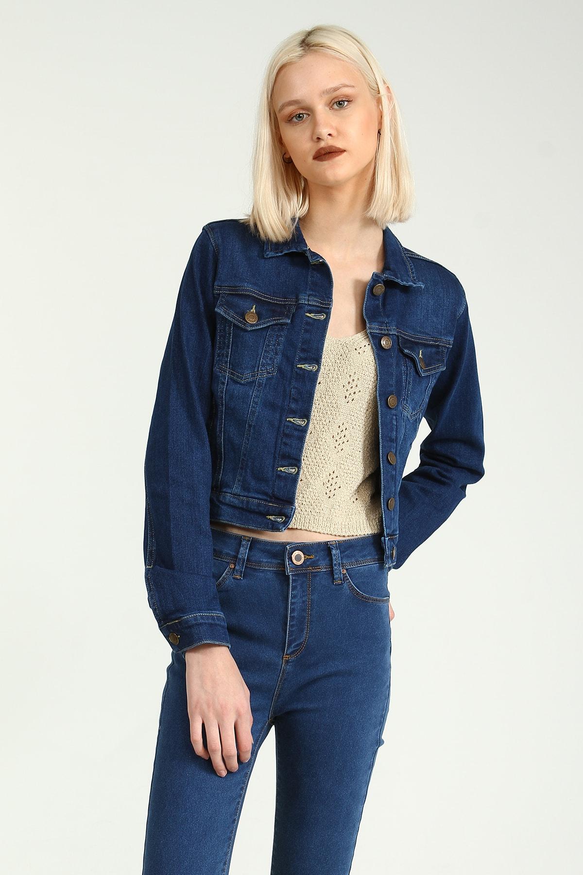 Collezione Kadın Koyu Mavi Regular Ceket 1