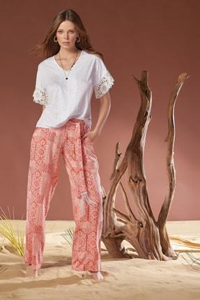 GİZZEY Kadın Ekru Kısa Kol Pantolon Takım