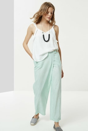 Yargıcı Kadın Nil Yeşili Toka Detaylı Pantolon 0YKPN3112X