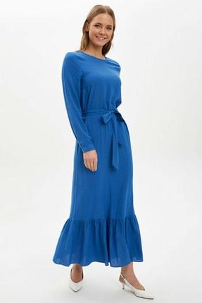 DeFacto Kadın Mavi Desenli Regular Fit Dokuma Elbise R3593AZ.20SP.BE175
