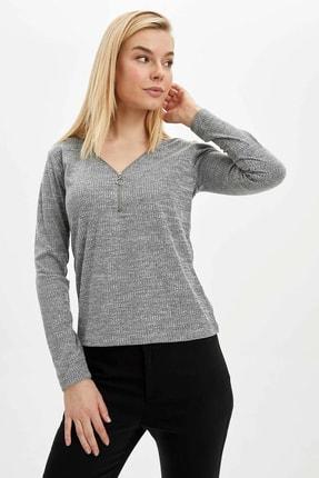 DeFacto Kadın Gri Fermuar Detaylı Uzun Kollu T-Shirt N7310AZ.20SP.GR210
