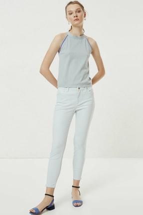 Yargıcı Kadın Buz Mavisi Fermuar Detaylı Denim Pantolon 0YKPN3132X