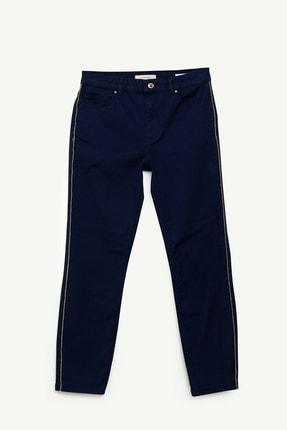 Yargıcı Kadın Lacivert Şerit Detaylı Denim Pantolon 0YKPN3121X