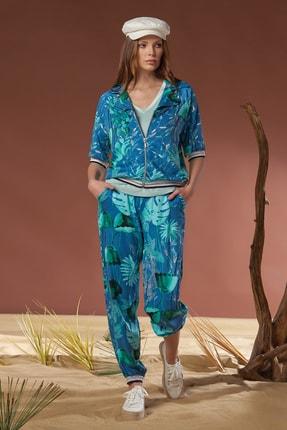 GİZZEY Kadın Çiçekli Kısa Kol Pantolon Takım