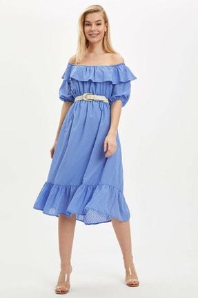 DeFacto Kadın Mavi Desenli Regular Fit Elbise R1379AZ.20SP.BE1
