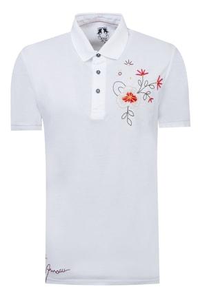 D'S Damat Beyaz Renk Erkek  T-shirt (Slim Fit)