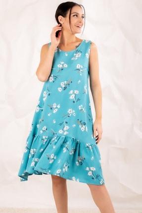 armonika Kadın Mint Yaprak Desenli Kolsuz Eteği Fırfırlı Elbise ARM-20Y001008