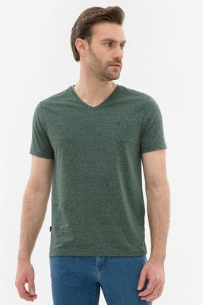 Pierre Cardin Erkek Koyu Yeşil Slim Fit V Yaka T-Shirt