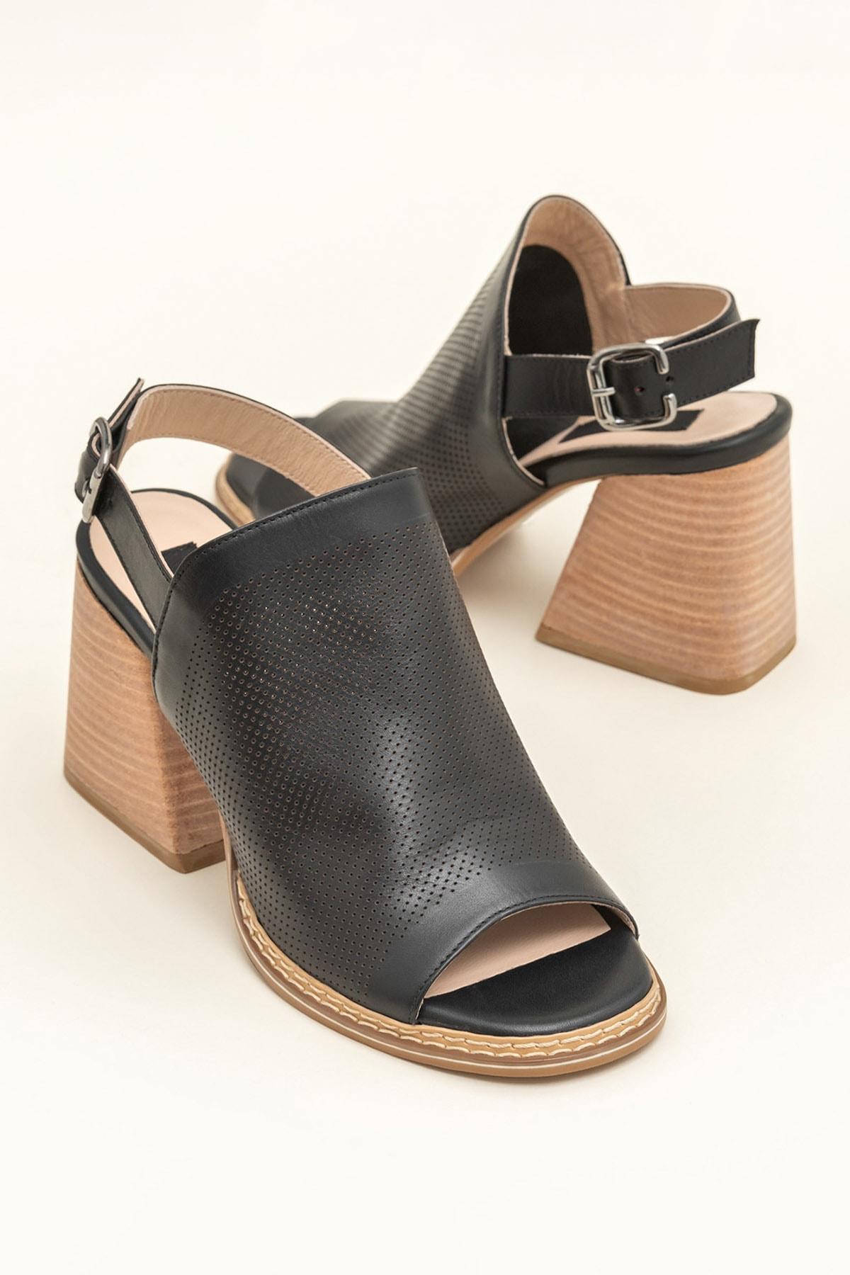 Elle Shoes PATRA Hakiki Deri Siyah Kadın Sandalet 1