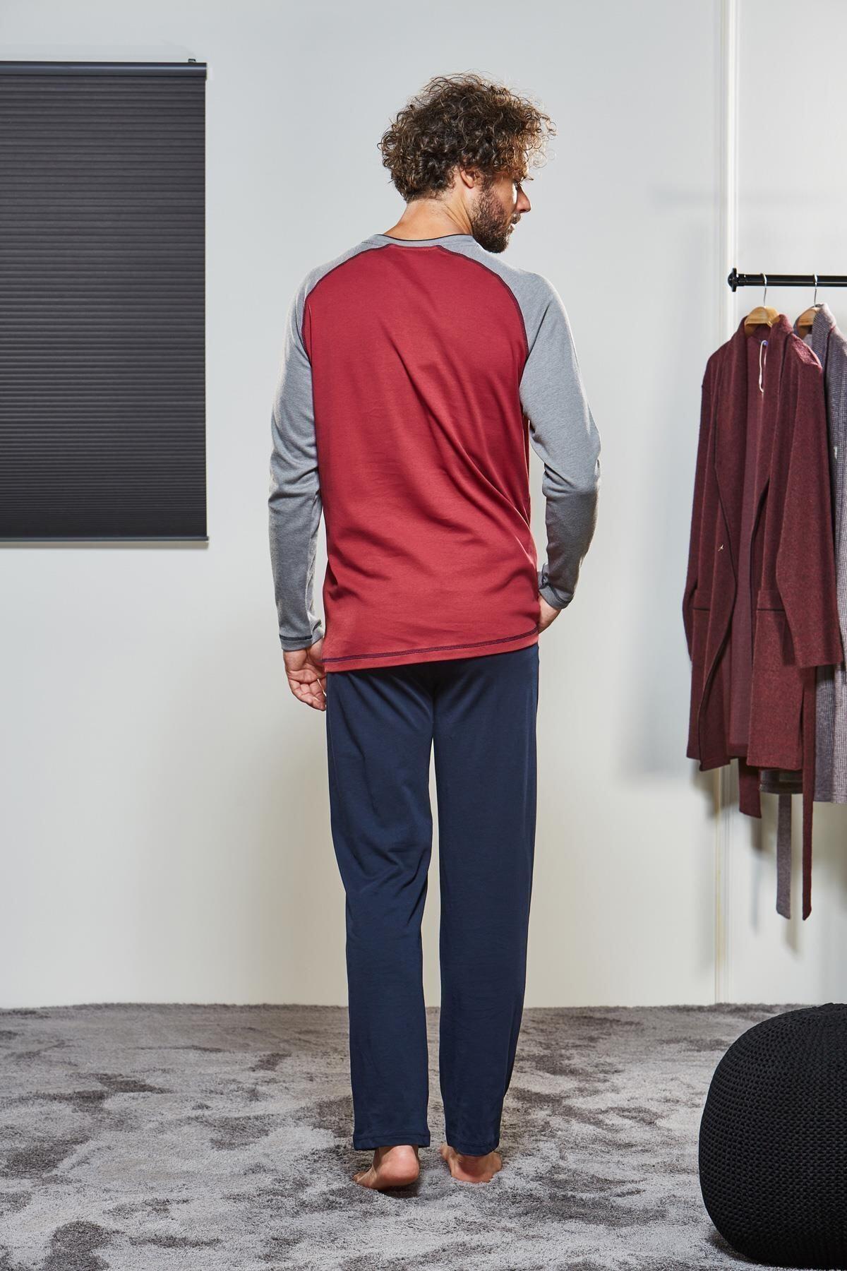 PJS Erkek Düğmeli Pijama Takımı 21314 2