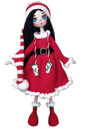 Binbir Trend Miti Noelde, El Örgüsü Amigurumi Noel Oyuncak Kız Bebek-37cm
