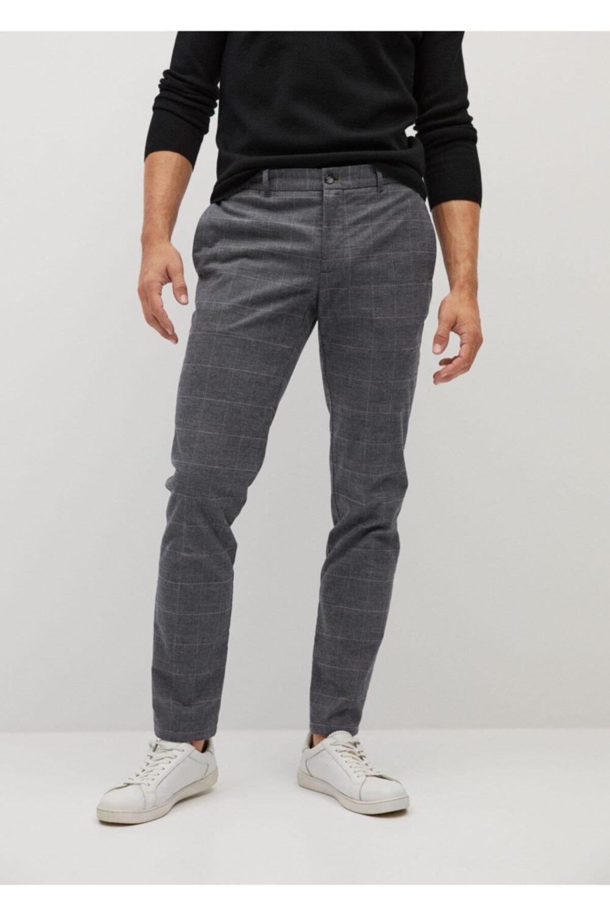 MANGO Man Dar Kesim Kareli Pamuklu Pantolon 1