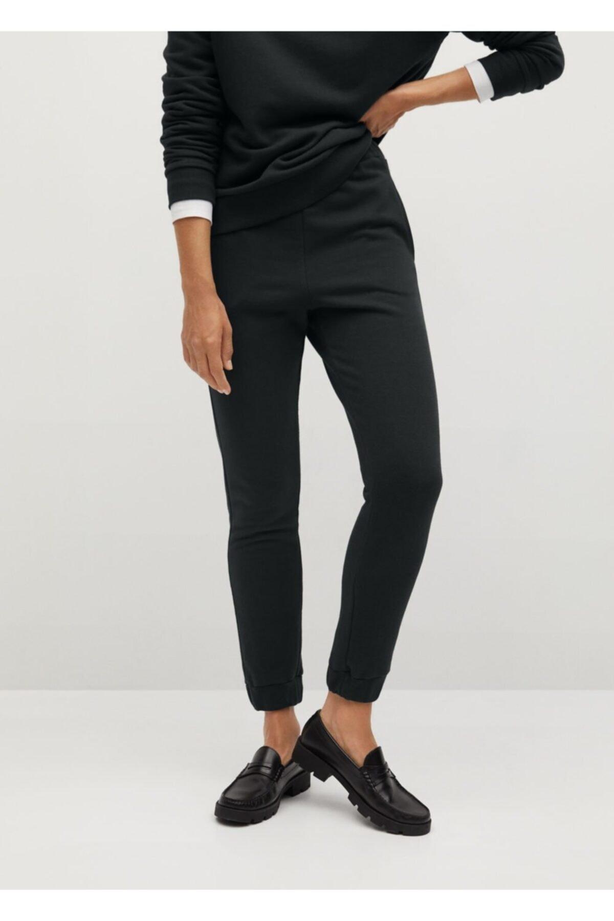 MANGO Woman Kadın Siyah Jogger Tarz Pamuklu Pantolon 1