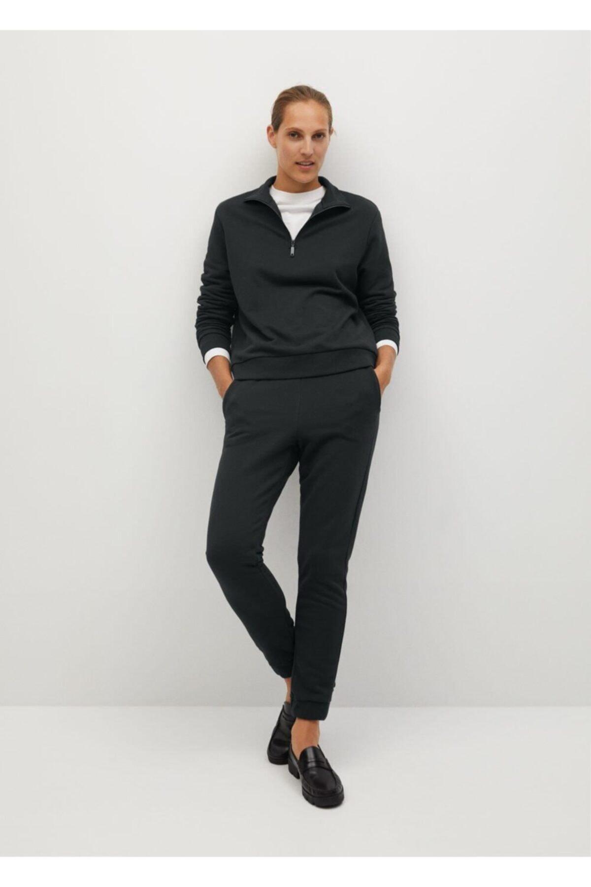 MANGO Woman Kadın Siyah Jogger Tarz Pamuklu Pantolon 2