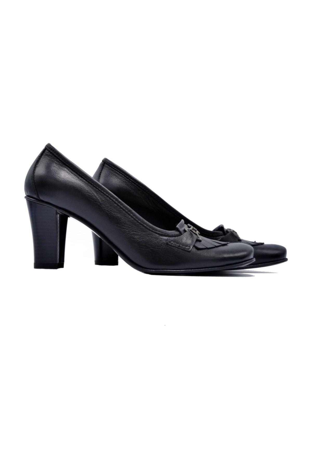 Zaim Kundura Hakiki Deri Kadın Klasik Topuklu Ayakkabı 1