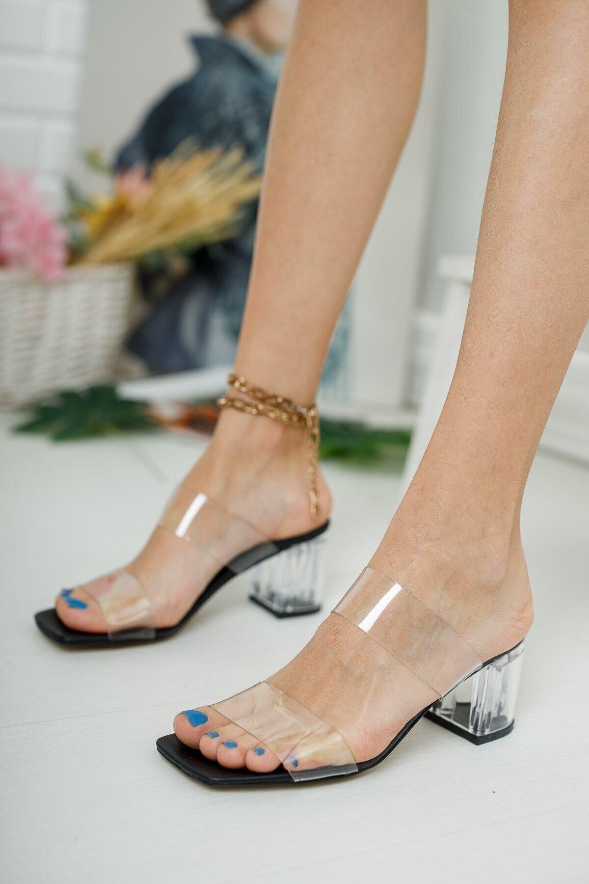 meyra'nın ayakkabıları Kadın Şeffaf Bant Ve Siyah Taban Topuk Detay Topuklu Ayakkabı 1